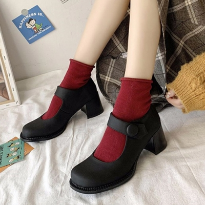 KEITH-WILL時尚鞋館 自在穿搭可愛娃娃跟鞋-啞光黑