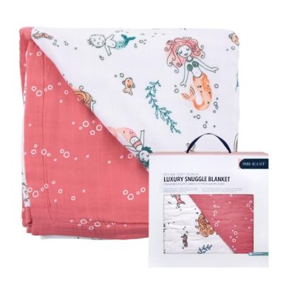 美國 Bebe Au Lait - oh-so-soft 天絲棉紗被禮盒 (粉紅泡泡美人魚)