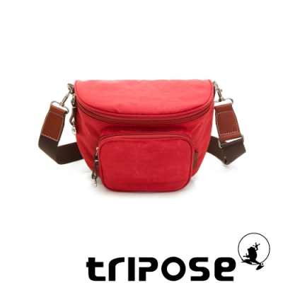 tripose 漫遊系列岩紋斜背腰包 石榴紅