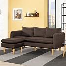 Boden-米恩咖啡色L型布沙發椅(三人座+腳椅)