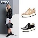 ECCO SOFT 9 北歐簡約漆皮厚底懶人鞋-兩色任選