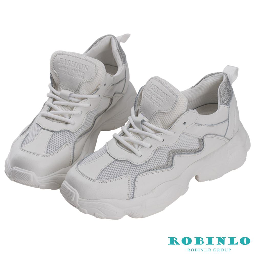 Robinlo 運動風閃電金蔥厚底老爹鞋 米白