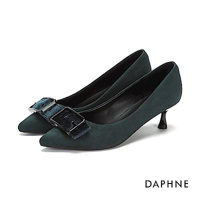 達芙妮DAPHNE 高跟鞋-復古絨面皮帶方釦高跟鞋-墨綠