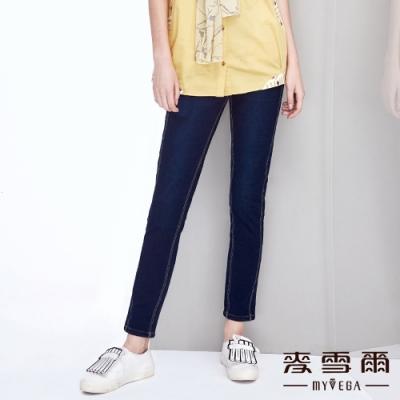 【麥雪爾】棉質車線造型九分牛仔褲