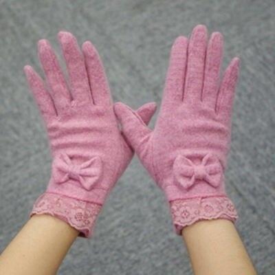 米蘭精品 羊毛手套-蕾絲蝴蝶結柔軟保暖女手套73or6