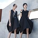 設計所在Style-原創設計師暗黑風夏款不規則中長背心連身裙