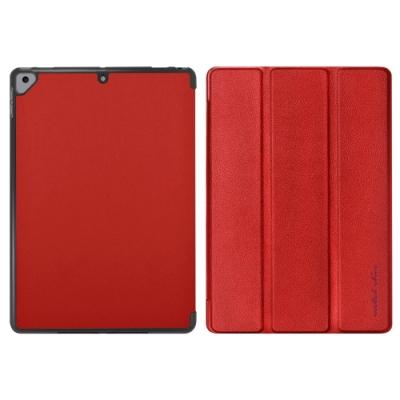 Metal-Slim Apple iPad Air 10.5 2019 高仿小牛皮三折站立皮套(熱情紅)