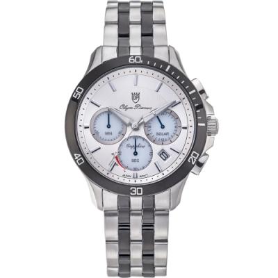 Olym Pianus 奧柏表 閃耀太陽能計時腕錶-白 89051-3GSB