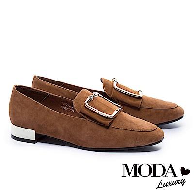 低跟鞋 MODA Luxury 摩登麂皮金屬方釦帶方頭低跟鞋-咖