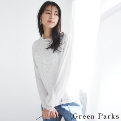 Green Parks 優雅蕾絲拼接雪紡立領上衣