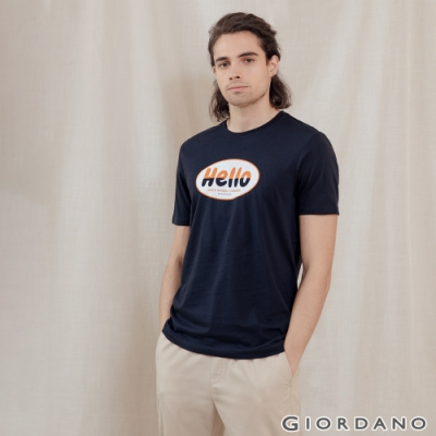 GIORDANO 男裝Greeting印花T恤 - 14 標誌海軍藍