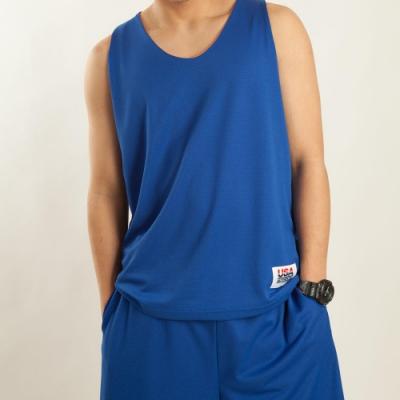 【FIVE UP】男款雙面穿吸排籃球背心-藍