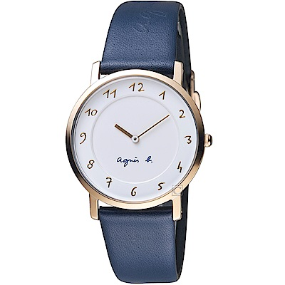 agnes b.簡約手繪時標石英錶(BG4020P1)-藍色