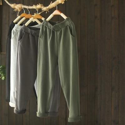 厚實軟糯單色棉質毛圈鬆緊腰寬鬆長褲-設計所在