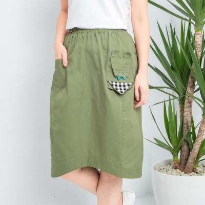 【白鵝buyer】 童趣口袋韓國製休閒裙_綠色