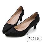 GDC-知性羊絨壓紋波浪邊尖頭跟鞋-黑色