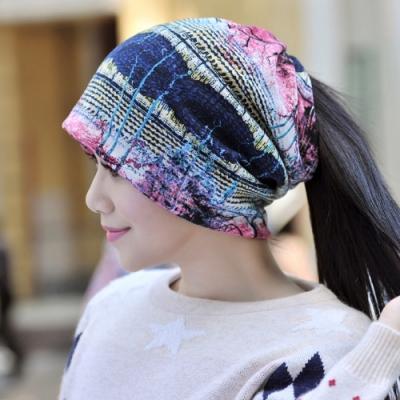 【89 zone】法式優雅透氣彈性針織印花套頭防風/頭巾帽(紅)
