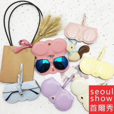 seoul show首爾秀  素面蛇紋外掛墨鏡收納包光學眼鏡保護夾太陽眼鏡盒