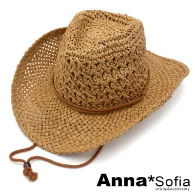 AnnaSofia 雙棉繩洞鏤 牛仔紳士帽爵士帽草帽(深駝系)
