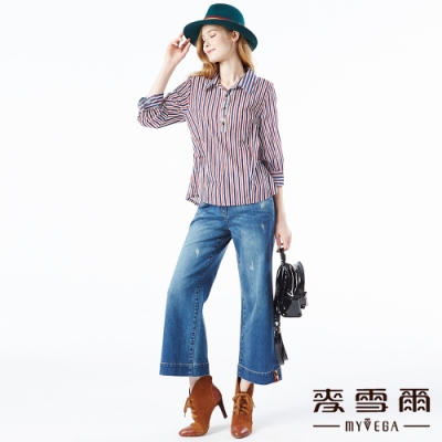 【麥雪爾】棉質時尚微刷破寬版牛仔褲