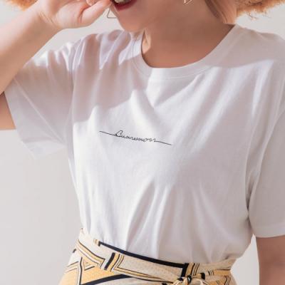 AIR SPACE LADY 中大尺碼 簡約字母短袖上衣(白)