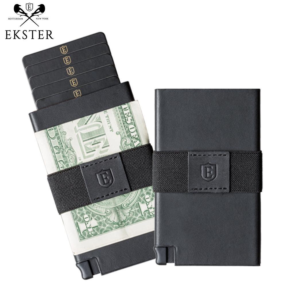 Ekster 荷蘭x紐約設計品牌 簡約真皮RFID防盜信用卡夾 黑色