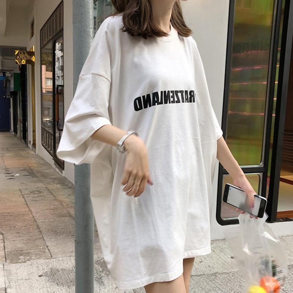 Lockers 木櫃  韓版街頭風寬鬆字母數字印花T恤-2色