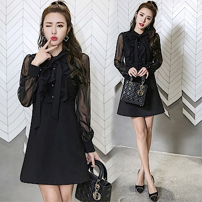 DABI 韓國風名媛顯瘦小香風網紗拼接蕾絲長袖洋裝
