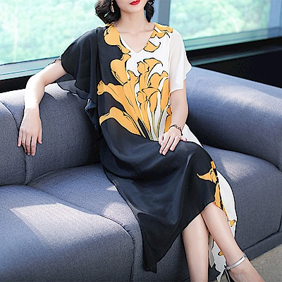 簡約大氣花卉質感印花短袖洋裝M~3XL-REKO