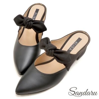 山打努SANDARU-MIT蝶結配色尖頭穆勒鞋-黑