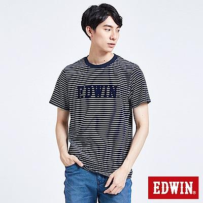 EDWIN 築地系列植絨LOGO短袖T恤-男-丈青