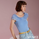 SO NICE優雅烏干紗造型領針織上衣