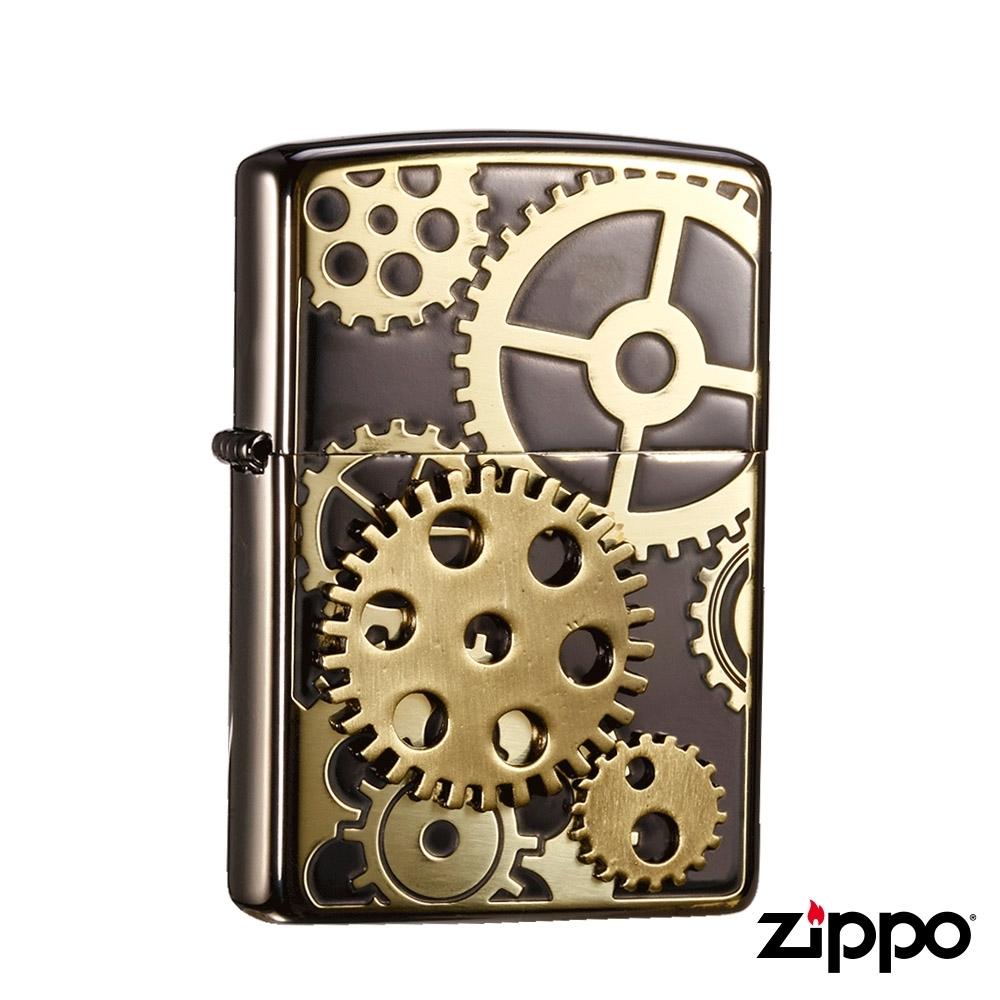 日系Zippo 鑲嵌齒輪-雷雕防風打火機#ZA-5-10a