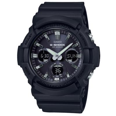 G-SHOCK獨特優雅金屬塗層設計強悍風範休閒錶(GAS-100B-1)全黑52.5mm