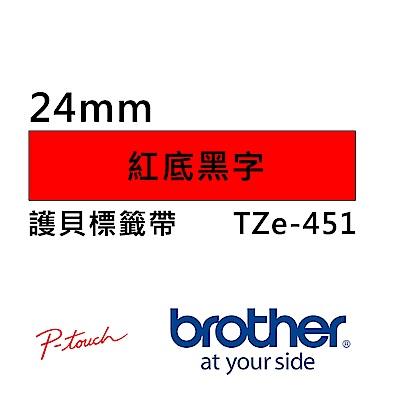 Brother TZe-451 護貝標籤帶 ( 24mm 紅底黑字 )