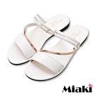Miaki-涼鞋2穿細帶平底涼拖-白