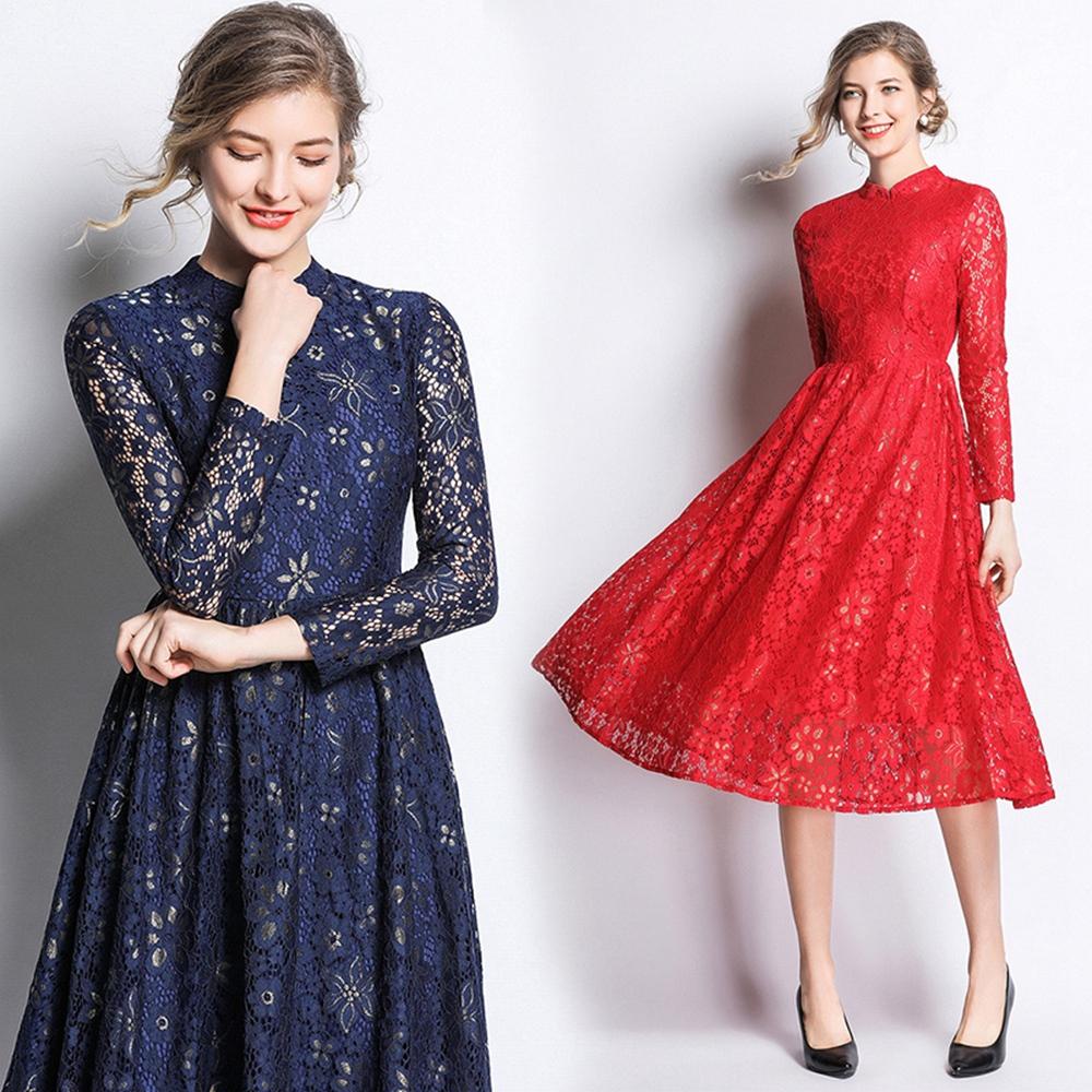 飄逸高雅立領蕾絲提花洋裝S-2XL(共二色)M2M @ Y!購物