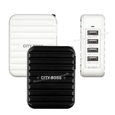 CityBoss 高效率6A大輸出 4孔 4USB旅充頭 高速充電器