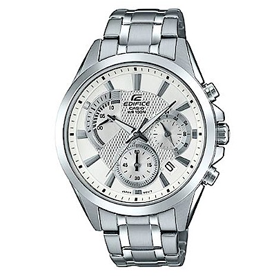CASIO 典藏賽車設計風格不鏽鋼腕錶-白面(EFV-580D-7A)/42mm