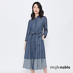 獨身貴族 經典第凡內綁帶棉麻排釦洋裝(1色)