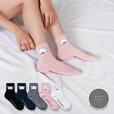 阿華有事嗎 韓國襪子 立體大頭小白中筒襪 正韓百搭純棉襪