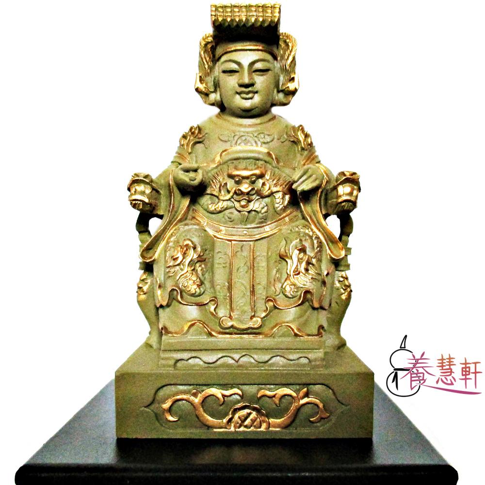 養慧軒 金剛砂陶土精雕佛像 媽祖娘娘(石金色)(高12公分)