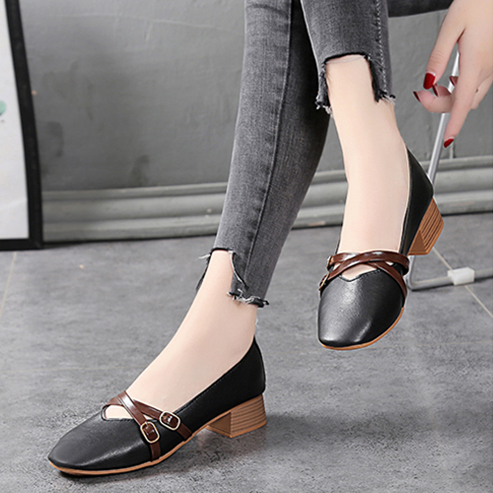 KEITH-WILL時尚鞋館 韓流簡約淑女粗跟鞋-黑色