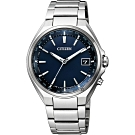 CITIZEN 星辰 鈦 光動能電波萬年曆手錶-藍x銀/38mm(CB1120-50L)