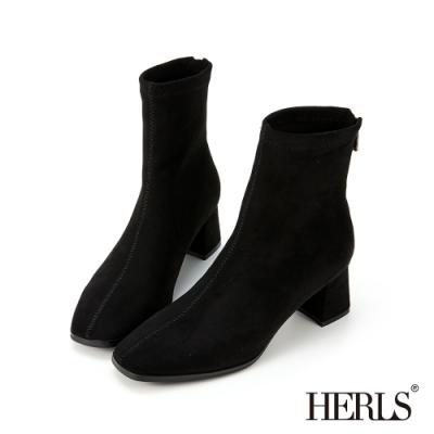 HERLS短靴-素面麂皮絨方頭粗跟短靴襪靴-黑色