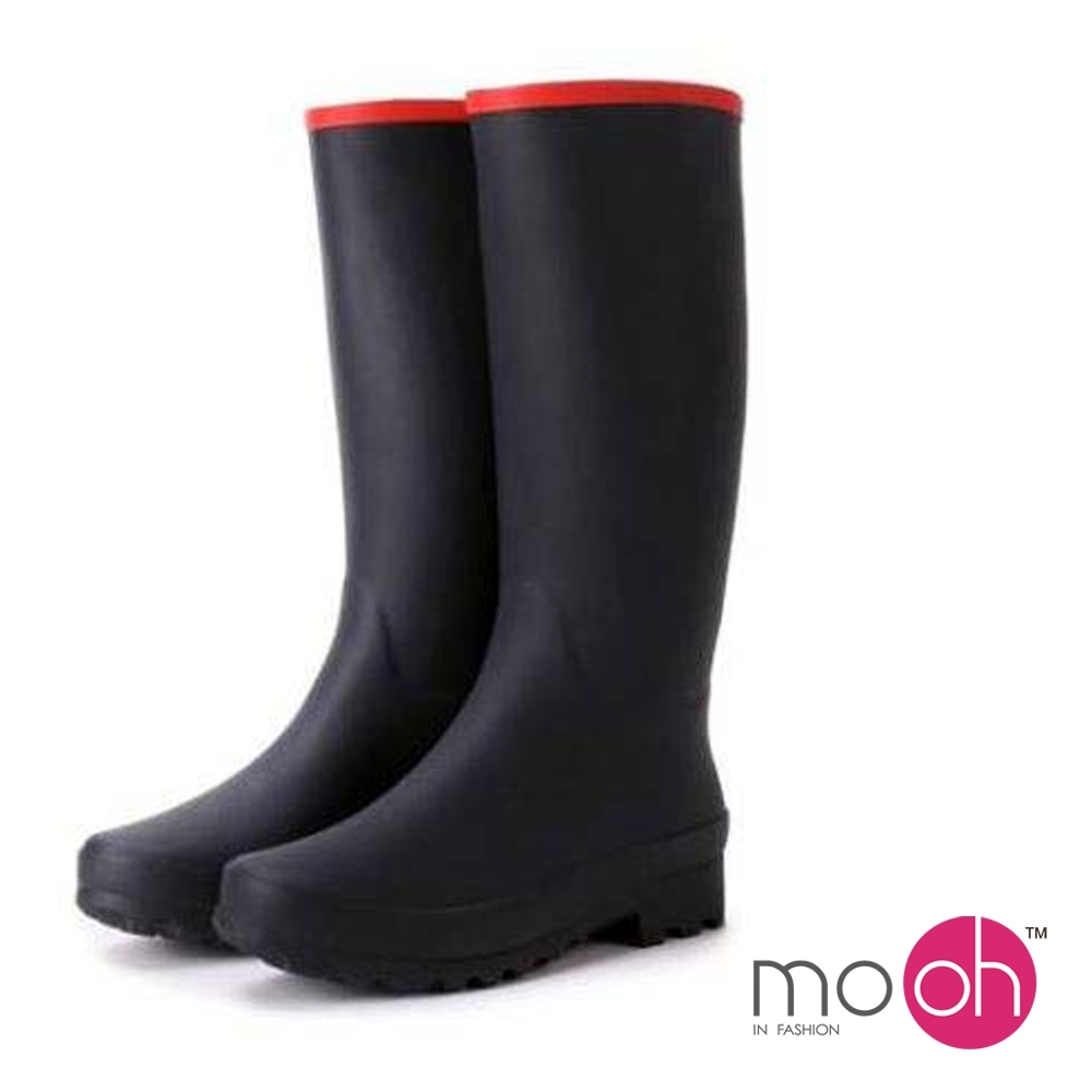 mo.oh-舒適柔軟輕便長筒雨鞋-黑色