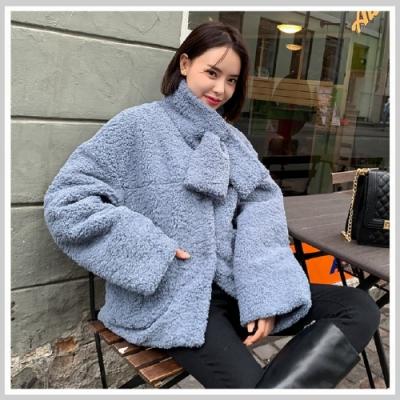 鋪棉衣 圍巾口袋質感鋪棉短外套MR9090-創翊韓都