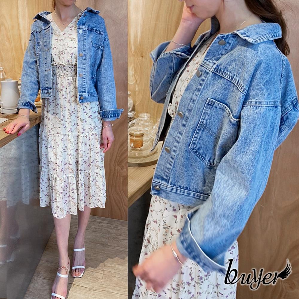 【白鵝buyer】韓風 顯瘦口袋休閒牛仔外套(淺藍)