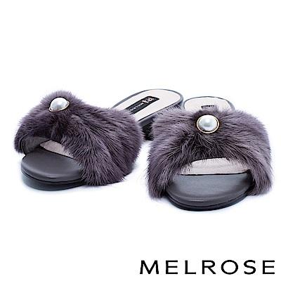 拖鞋 MELROSE 奢華珍珠設計貂毛粗低跟拖鞋-灰