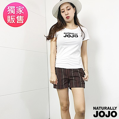 【NATURALLY JOJO】直條紋短褲(咖啡)